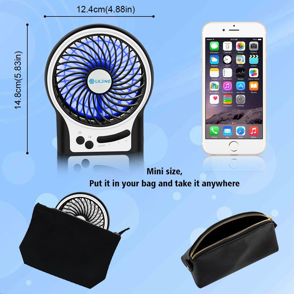 Personal Portable Mini USB Rechargeable Cooling Fan with LED Light for Traveling Room Office Car Household Outdoor 3 Speeds Black VersionTECH Desk Fan