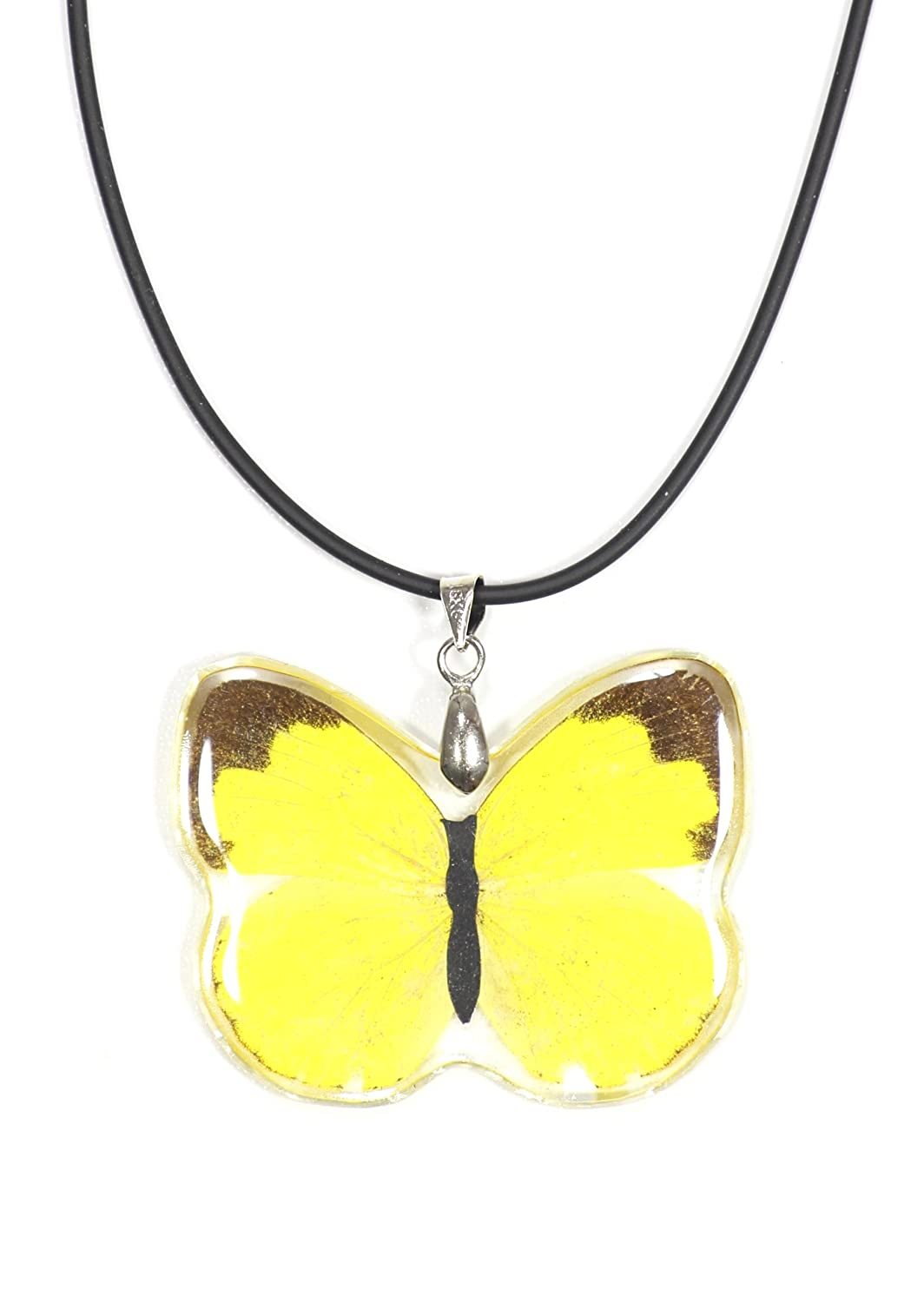 Magic Metal Yellow Butterfly Pendant Necklace Faux Leather NN42 Fashion Jewelry
