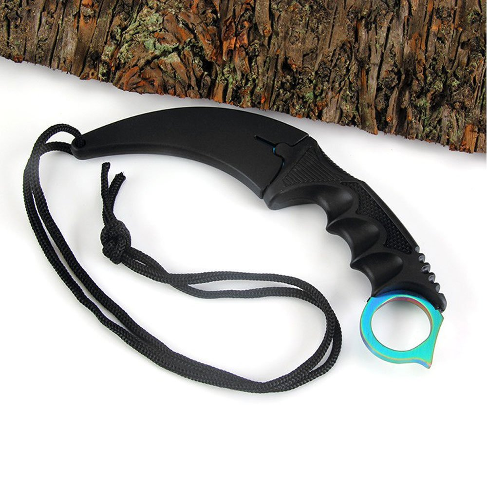 Jeslon Stainlsee Steel Tactical Karambit Hawbill Knife With Sheath and Cord,Survival Defense Claw Fixed Knife For Outdoor Hunting Camping Hiking Tools (Rainbow)