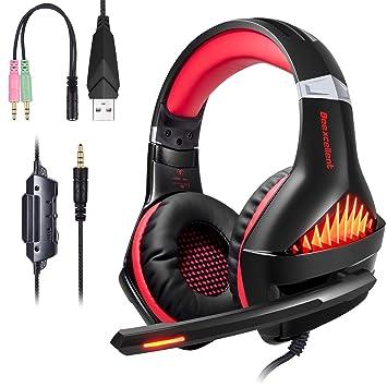 ShinePick Auriculares Gaming, 3.5mm Cancelación De Ruido Gaming Headset, Juego Auriculares con Micrófono
