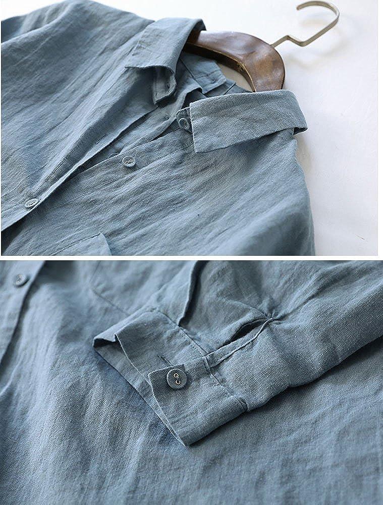 0f89db482452b7 ... Minibee Womens Linen Blouse High Low Shirt Roll-Up Sleeve Tops ...