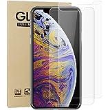 G-luck【二枚セット】iphone XS Max 強化ガラス液晶保護フィルム 高透過率 飛散防止 硬度9H 指紋防止 サラサラ 自己吸着 キズ防止 衝撃吸収 防指紋(6.5インチ)