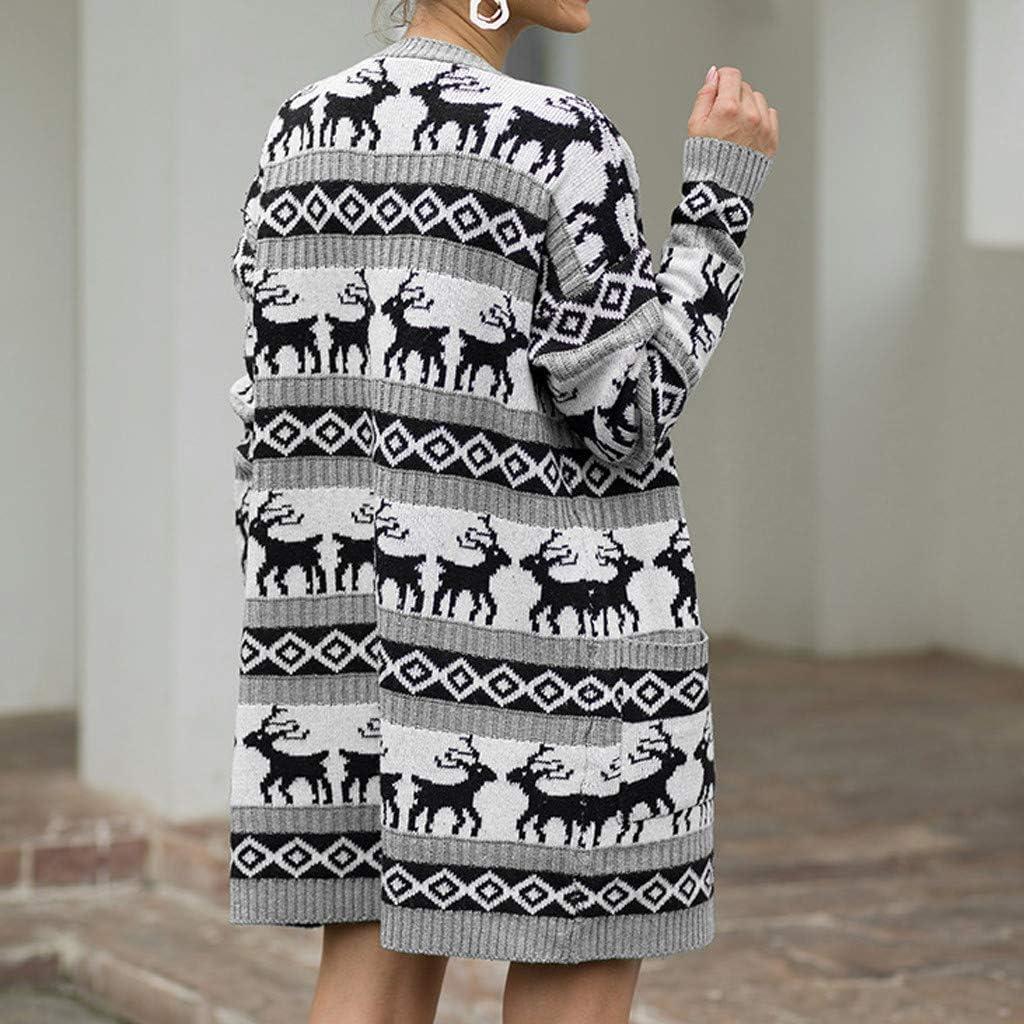 Oasisocean Womens Ugly Christmas Sweaters Patterns Reindeer Snowman Tree Snowflakes Xmas Knitted Sweaters Cardigan