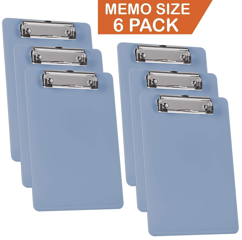 Acrimet Clipboard Memo Size A5 Low Profile Clip (Solid Blue Color) (6 Pack) 137C.A.O