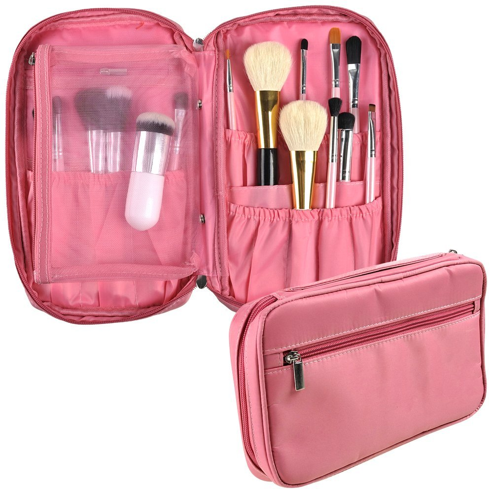 Samtour Professional Cosmetic Makeup Brush organizer Makeup Artist case with Belt Strap Holder Multifunctional Cosmetic Makeup Bag Handbag for Travel & Home (pink)