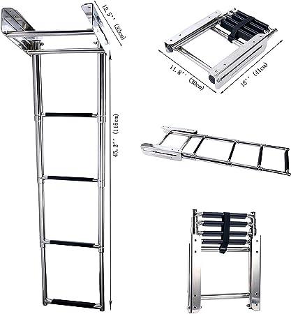 Amarine - Escalera telescópica para barco, 4 peldaños de acero inoxidable: Amazon.es: Deportes y aire libre