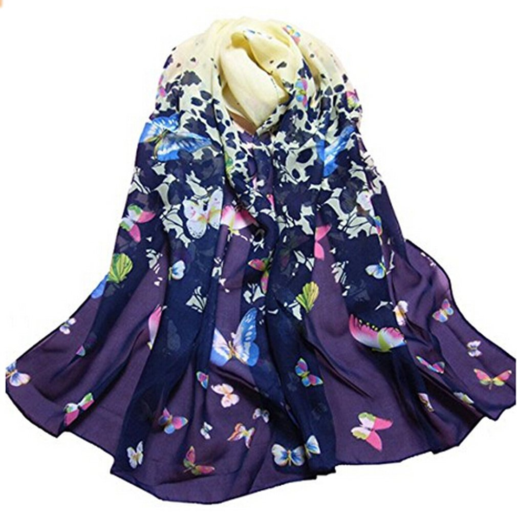 HENGSONG Donne Stampato Farfalla Fiore Chiffon Sciarpe Silk Sciarpa Scialli Avvolgere Collo Pashmina 160x50cm (Blu) Mei_mei9