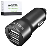 Alictron Fast USB Car Charger - Dual Port 4.8A 24W Adapter For Apple iPhone Samsung Huawei and all other Phone Models Android iOS Tablets Laptop Sat Nav - Smart Charging Adaptive Tech Built In (Black)
