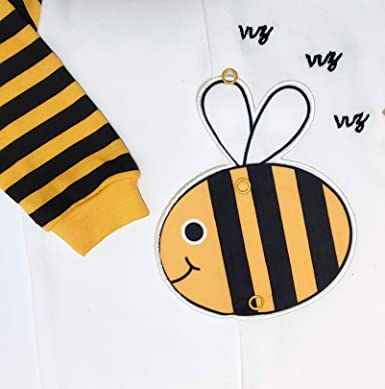 Limeinlemon Unisex Baby Bee Footed One-Piece Coverall and Stripe Bee Hat 2-Pieces