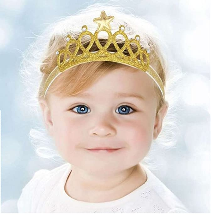 Amazon.com  Ecome Girls Hair Accessories Baby Hair Band Gold and Silver Baby  Crown Headband 2 pcs  Clothing 0ef1f20434cc