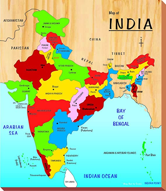 state maps of india Buy Kinder Creative India Map Brown Online At Low Prices In India Amazon In state maps of india