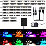 AMBOTHER 8Pcs Motorcycle LED Light Kits Strips DC 12-Volt Waterproof RGB Multi-Color Underglow Neon Ground Effect…