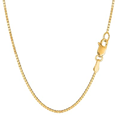 200673de8ebd7 Amazon.com: 14k Yellow Gold Classic Mirror Box Chain Necklace, 1.2mm ...