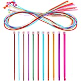 23 Pieces Tunisian Crochet Hook Set Include Plastic Cable Afghan Crochet Hook and Multicolor Tunisian Afghan Aluminum Knitting Needles for Weaving Tools