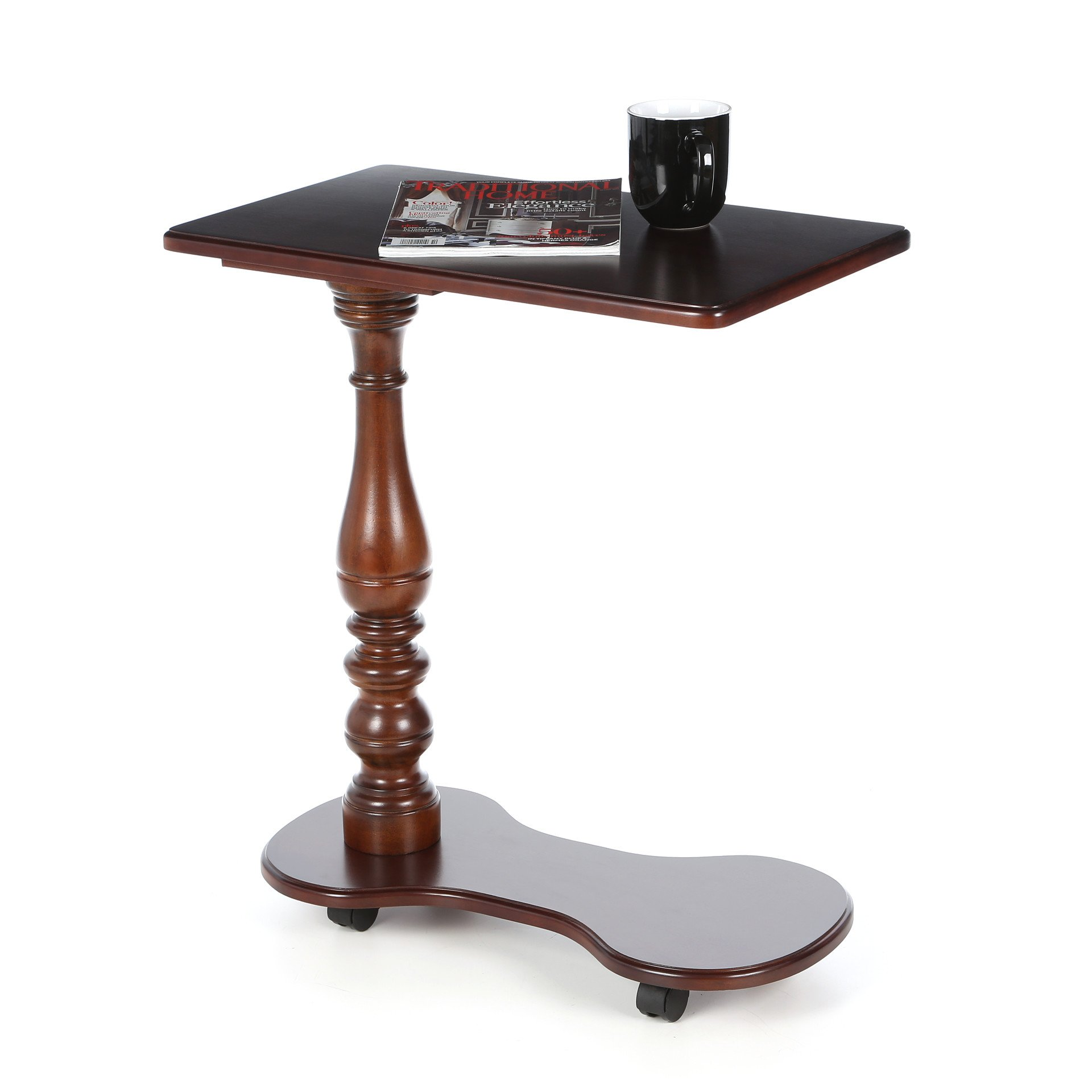 Portable Mobile Tray Table Made w/ MDF and Solid Wood Veneers in Cherry 28.5'' H x 24'' W x 14'' D