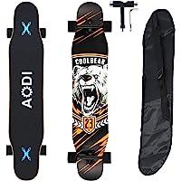 "AODI 46"" Longboard Skateboard Complete Canadian Maple Wood Double Kick Concave Maple Pro Beginner Dance Board with LED…"