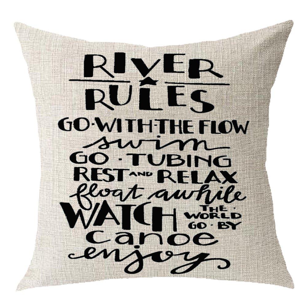 "Retro River rules relaxed flowers Cotton Linen Square Throw Waist Pillow Case Decorative Cushion Cover Pillowcase Sofa 18""x 18"""