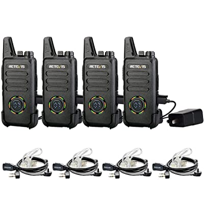 Retevis RT22S 2 Way Radios Rechargeable Walkie Talkies Long Range FRS 22 Channel Display Lock with Earpieces Emergency Alarm Signal Prompt VOX(4 Pack): Car Electronics
