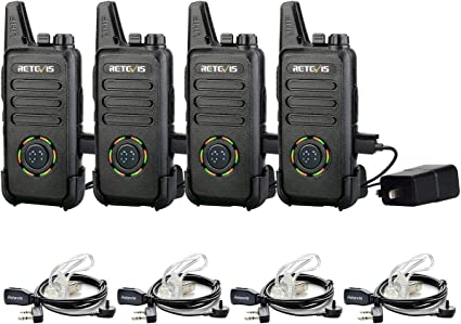Retevis RT22 Walkie Talkies Rechargeable Long Range,Wireless VOX Two Way Radio with Air Tube Earpiece Adults Kids Camping Hiking Biking 2 Pack