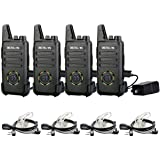 Retevis RT22S 2 Way Radios Rechargeable Walkie Talkies Long Range 22 Channel Display Lock with Earpieces Emergency Alarm Signal Prompt VOX(4 Pack)