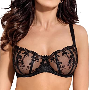 Gorsenia K292 Salma Underwired Non-Padded Balcony Bra with Floral  Embroidery and Adjustable Non Removable 1cddb1d5b