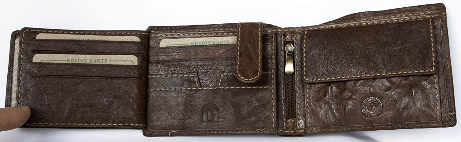 Mens Natural Strong Glazed Dark Brown Genuine Leather Wallet Green Valley