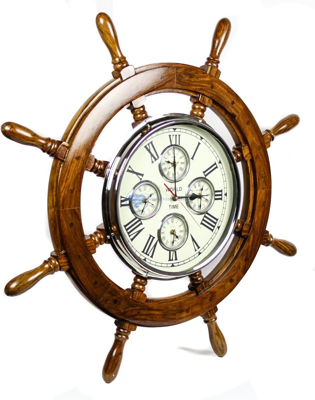 Nautical Home Decor /& Gifts 30 Inches, Mahogany Nagina International 30 Premium Mahogany Crafted Large Nautical Ships Wheel Times World Clock