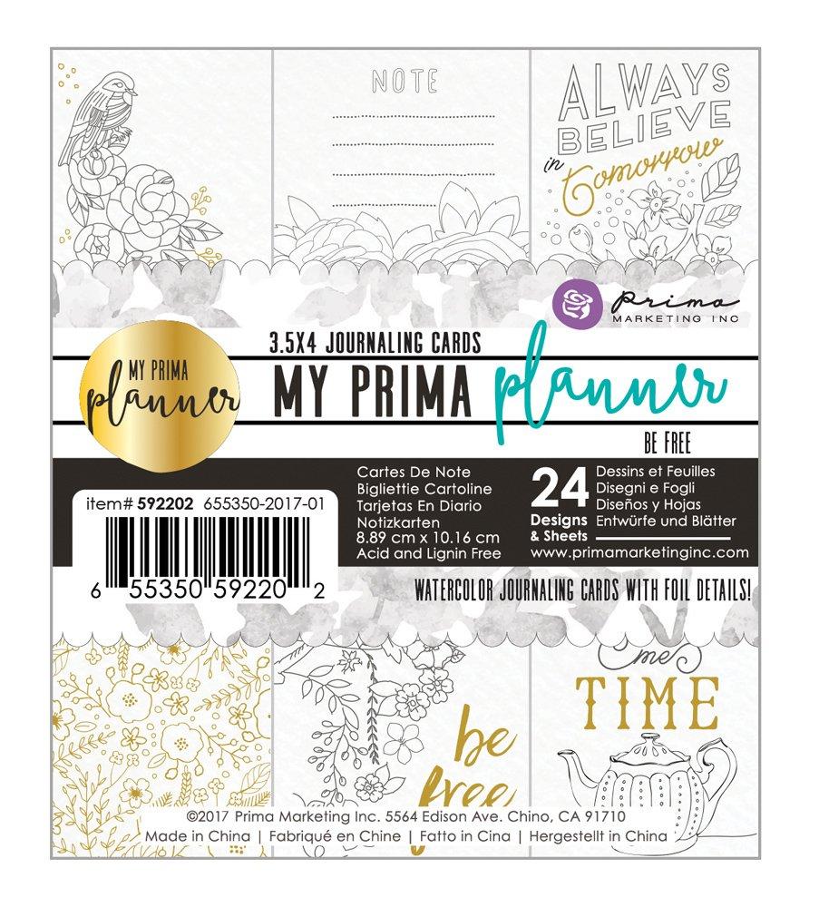 プリママーケティング655350592202 My Prima Planner EmbelishmentsカラーリングJournaling Cards – Be Free B06W549XH8