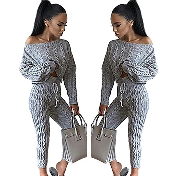 4343549d6ac01a GFmaterial Women Cable Knit Two Piece Sweatsuit Scoop Neck Sweatshirt  Tracksuit Off Shoulder Oversize Sweater Top