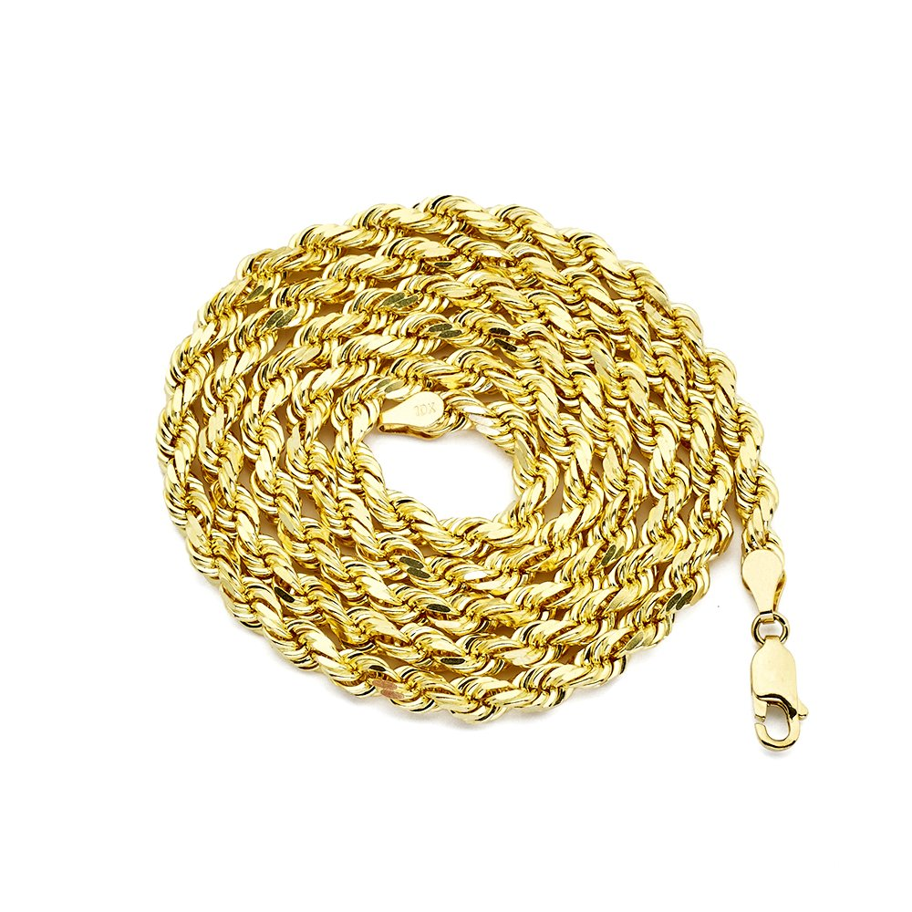 MR. BLING 10K Yellow Gold 5mm 24'' Diamond Cut Rope Chain Necklace with Lobster Lock