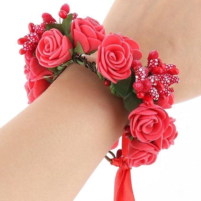 Amazon.com: eDealMax boda de la Novia de espuma de Doble capa Artificial de la muñeca Flor del arte de la decoración de DIY Rojo: Home & Kitchen