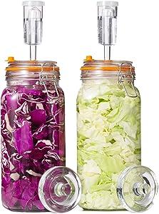 Jillmo Fermentation Jar, 2 Liter Fermentation Kit with Fermenting Weights and Airlocks, 2 Pack