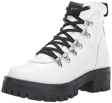 0949d587e62 Amazon.com: Steve Madden Women's BAM Hiking Boot White Leather 5.5 M ...