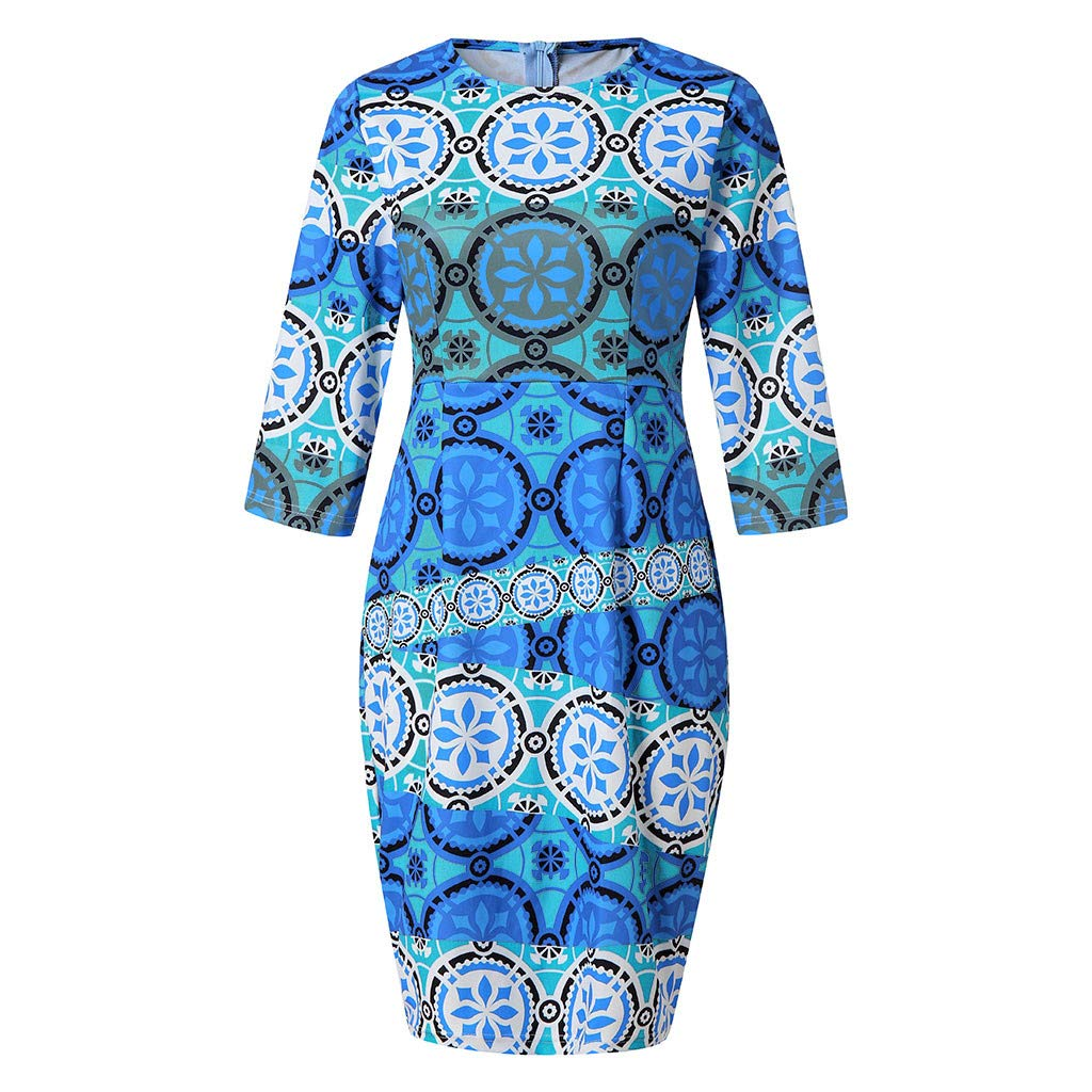 Ximandi Women Fashion Print Zipper Round Neck Half Sleeve Slim Fit Dress Blue