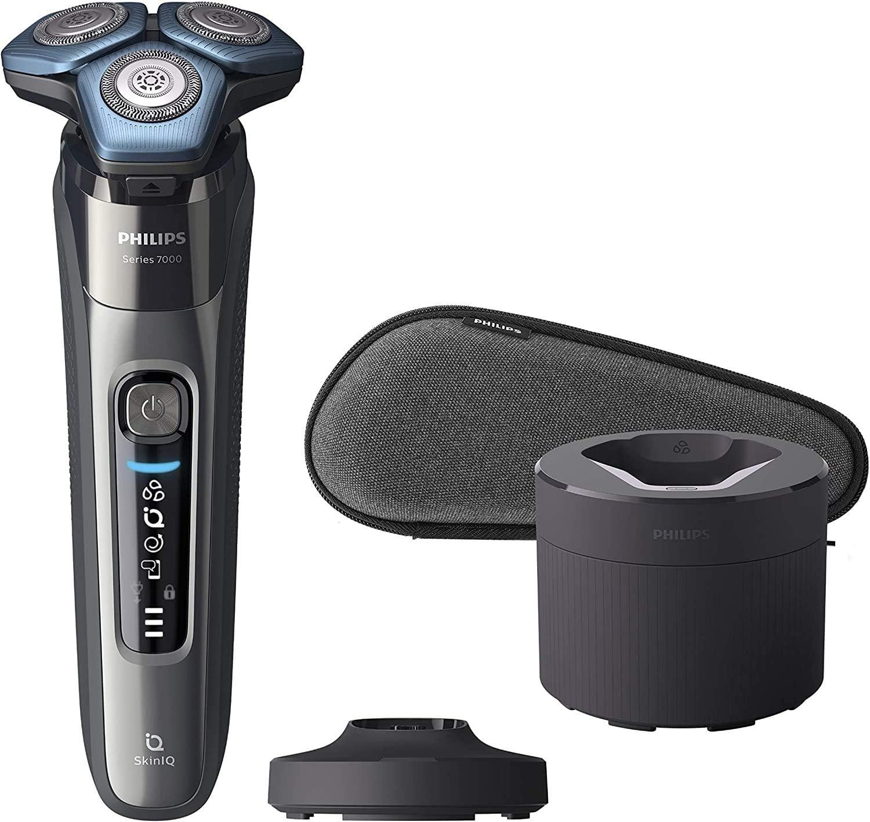 Philips S7000 S7788/59 - Afeitadora eléctrica para hombre con tecnología Skin-IQ, cortapatillas, seco/húmedo, con base de carga, base de limpieza y funda premium