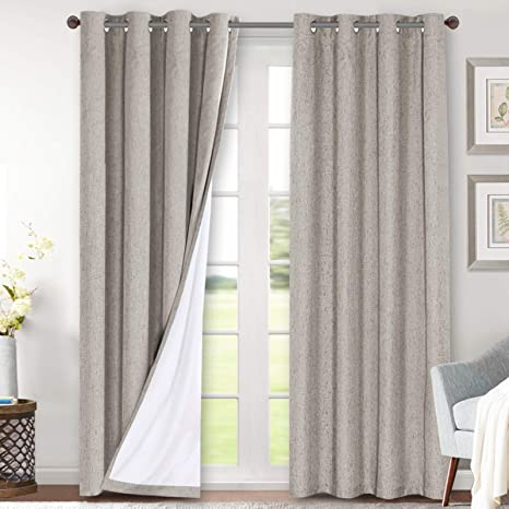 linen blackout curtains 96 inches long 100 total blackout heavy duty draperies for bedroom living room thermal insulated textured functional window