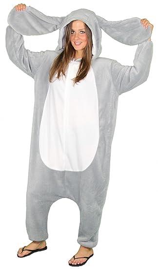Foxxeo Traje de Conejo para Adultos, Talla: S- XXL para Damas y Caballeros Traje de Conejo Gris Disfraz de Orejas de Conejo Traje de Animal Animal ...