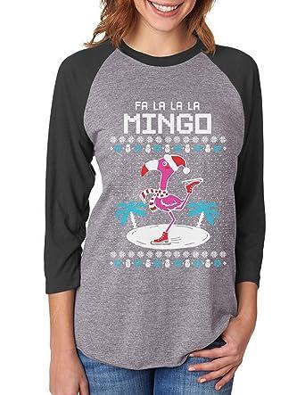 8913e72e6 Amazon.com: FA La La Flamingo Ugly Christmas Sweater Funny 3/4 Women Sleeve  Baseball Jersey Shirt: Clothing