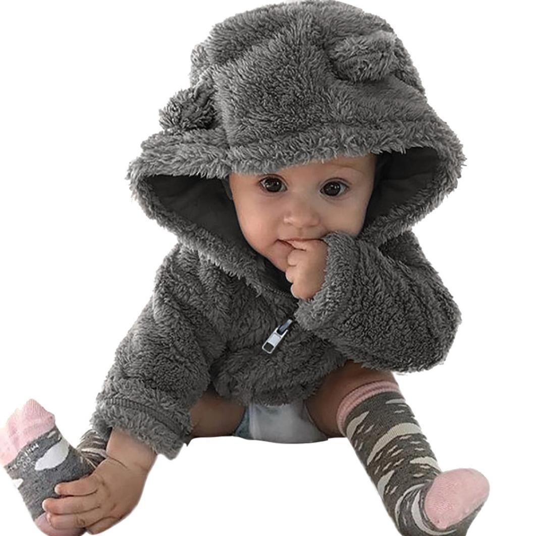 feiXIANG Bambino Cappotto, Toddler bambino ragazzi ragazze pelliccia cappuccio inverno giacca cappotto caldo carino spessi vestiti-miscela del cotone