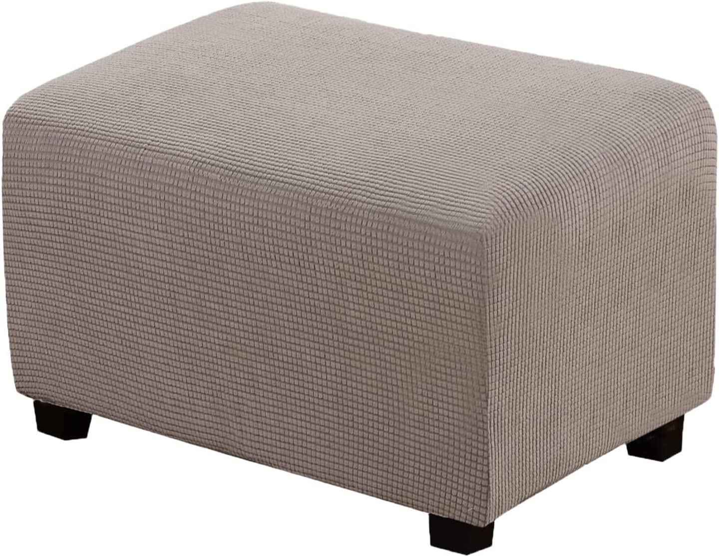 Ottoman Slipcover Folding Storage Stool Furniture Protector for Living Room, High Stretch Soft Rectangle Slipcover with Elastic Bottom Durable Spandex Stretch X-Large, Taupe