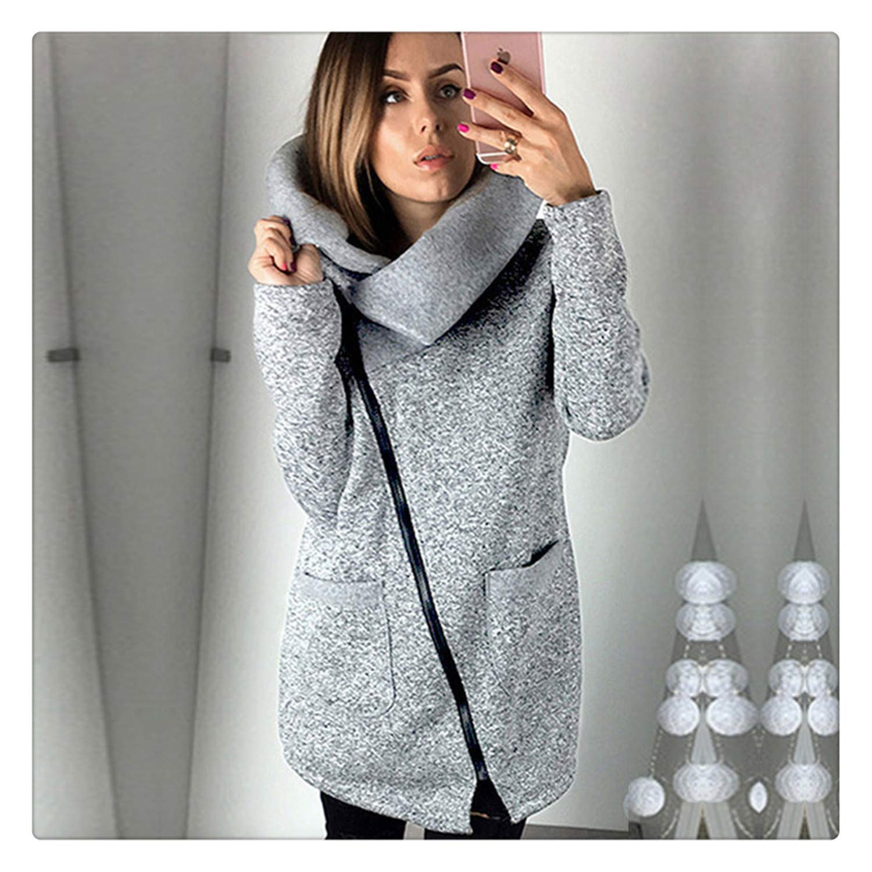 Amazon.com: Nhequren 2018 Women Spring Winter Fleece Sweatshirt Hoodie Long Zipper Hoodies Jacket Coat Outwear Plus Size 5XL Sudaderas para Mujer Blue XXXL: ...