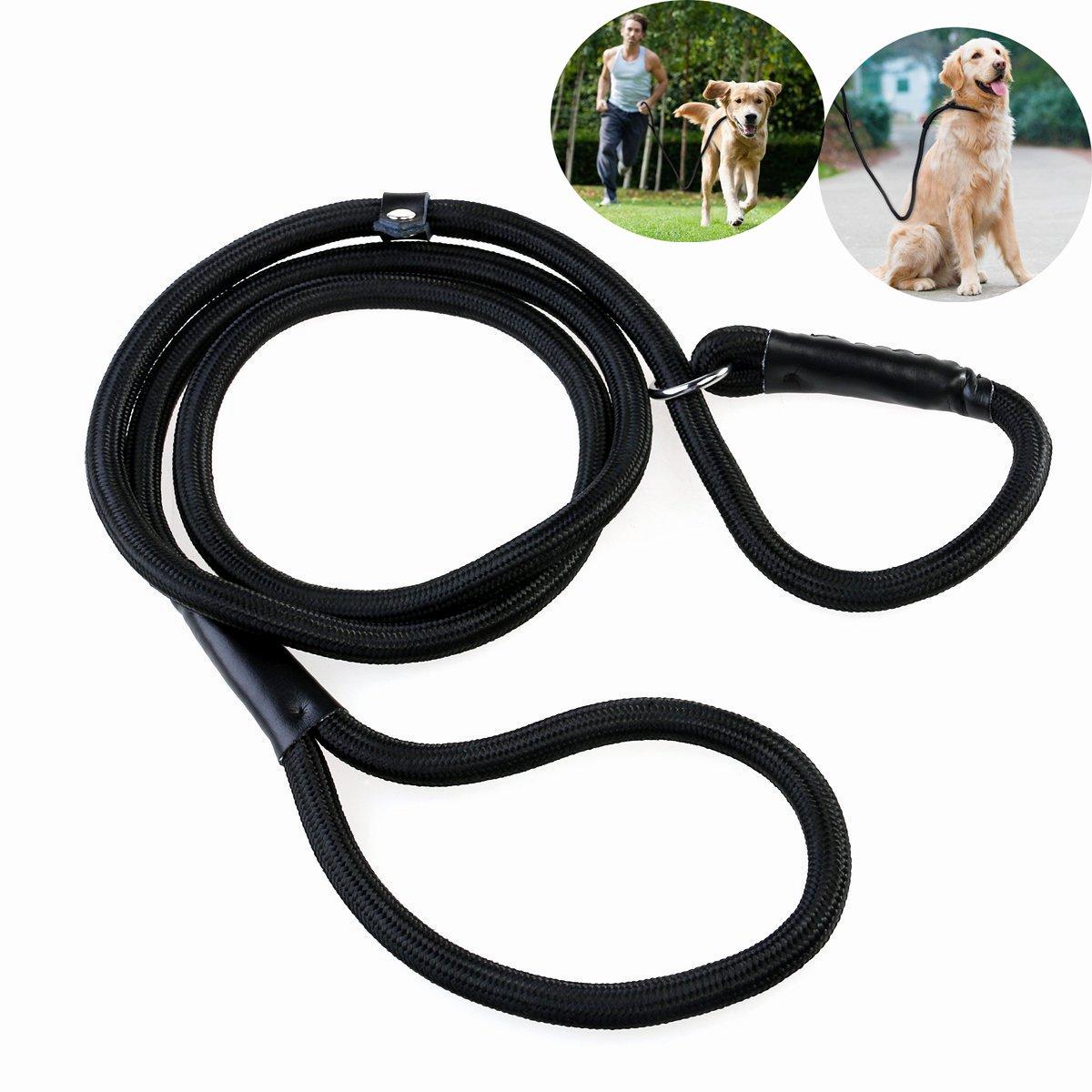 Laisse de dressage en nylon pour chiens, boucle réglable, corde de traction de 1,5 m (noire). boucle réglable PIXNOR