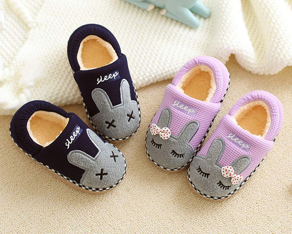 Girl Slippers Bunny Boots, Warm Indoor Home Winter Baby Kid Fluffy Hard Sole Shoes