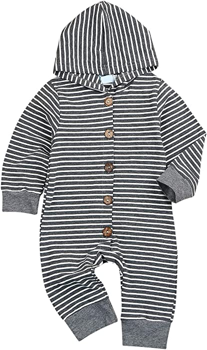 ebac5f9341b Amazon.com  Newborn Baby Jumpsuit Infant Toddler Bodysuit Long Sleeve  Striped Outfit Clothes  Clothing
