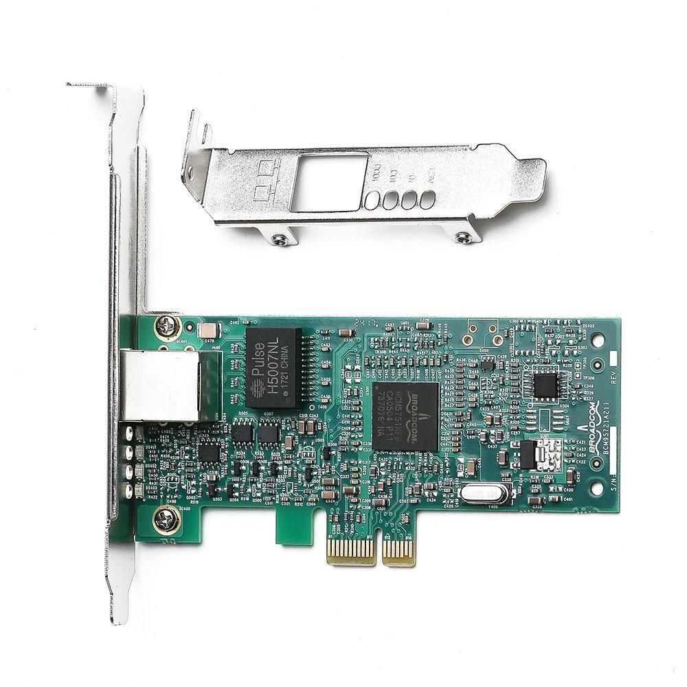 ULANSeN Broadcom NetXtreme 10/100 / 1000Mbps Gigabit Desktop PCI-E Tarjeta de red - NIC BCM5751