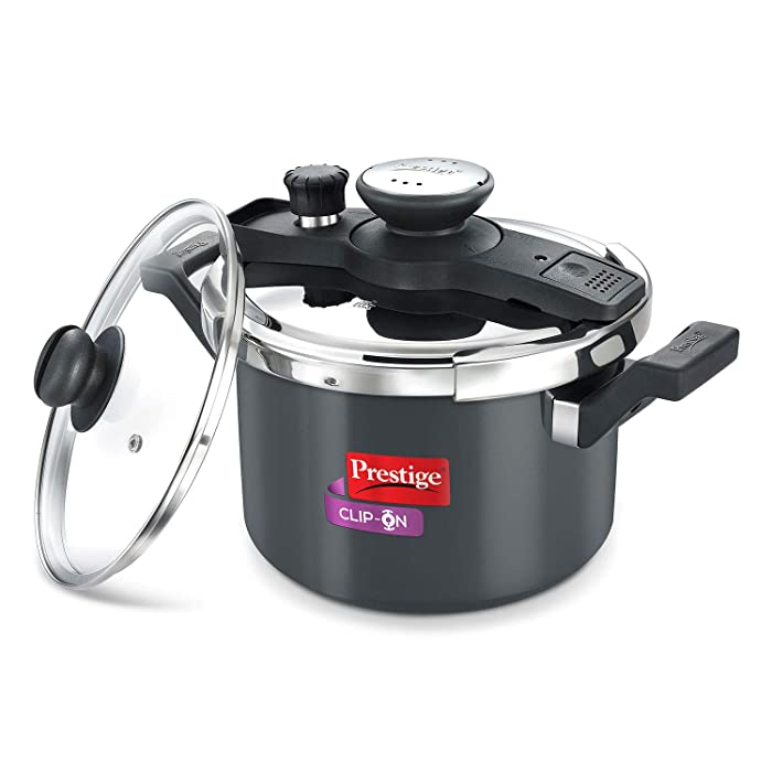 Prestige Clip On Hard Anodised Aluminum Pressure Cooker with Glass Lid, 5 Litres