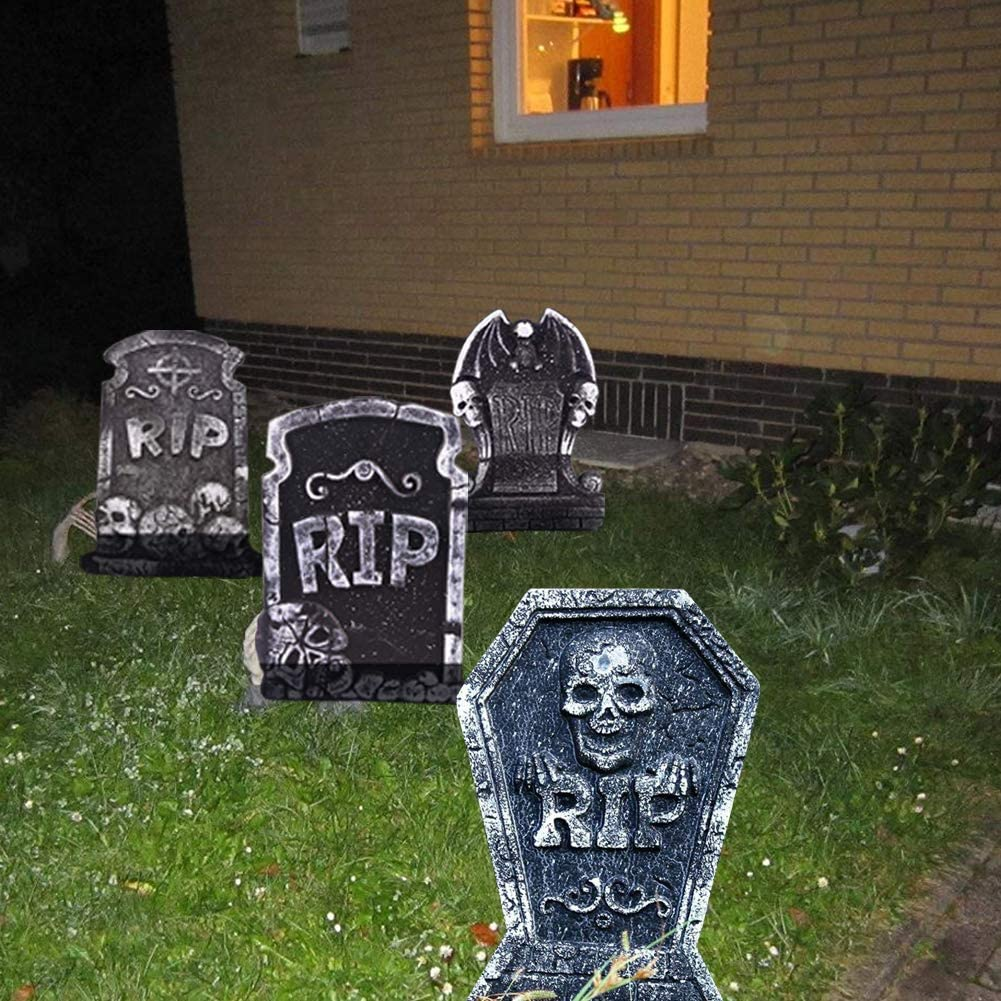 Graveyard and Outdoor Lawn WESJOY Halloween 17 Foam RIP Graveyard Tombstones Decorations 4 Pack Lightweight Halloween Yard Headstone Decor Party Accessories for Haunted House