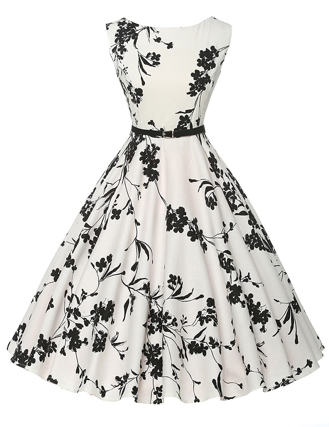 1950s Prom Dresses BoatNeck Sleeveless Vintage Tea Dress with Belt $30.99 AT vintagedancer.com