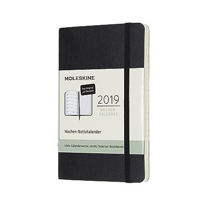 Moleskine 8058341719350 clásica – 12 meses Calendario semanal Alemán 2019, A6, tapa blanda, negro