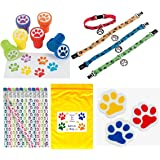 Paw Print Birthday Party Favor Bundle Pack Animal Lover (12 Stampers, 12 Pencils, 12 Erasers, 12 Puppy Dog Collar Bracelets & Bonus Bag)